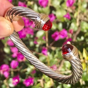 David Yurman 7mm Cable Bracelet w/ Garnet & 14K